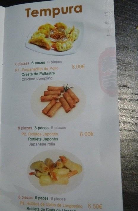 menu comida japonesa en barcelona