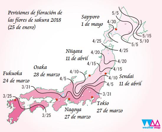 Mapa de previsiones de la floración del sakura 2018 – ??? 2018 (sakura zensen)
